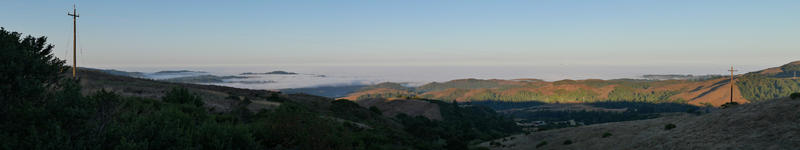 Dawn over Windy Hill on CA 35, looking towards the Pacific ocean