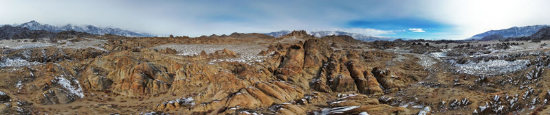 Aerial panorama of Alabama Hills, CA, taken with a Skydio 2
