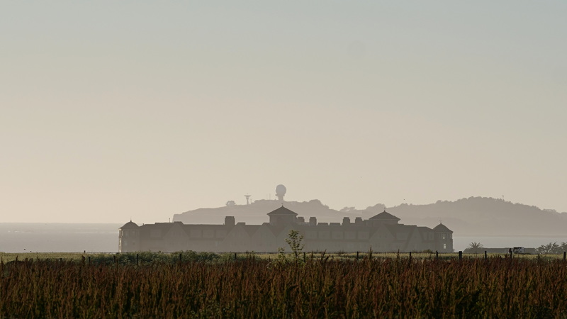 Look towards The Ritz-Carlton and Mavericks from a farm in Half Moon Bay, CA